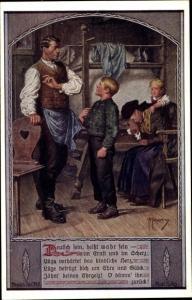 Künstler Ak Kuderna, F., Deutsch sein heißt wahr sein, Nr 2, Familie, Vater tadelt Sohn