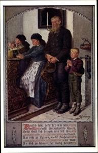 Künstler Ak Kuderna, F., deutschsein heißt fromm sein, Menschen in der Kirche beim Beten