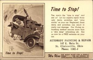 Künstler Ak St. Clairsville Ohio USA, Autobody Painting and Repair, Schimpansen, Automobil