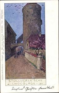 Künstler Ak Luntz, Adolf, Aus einem deutschen Städtchen, alter Turm, Stollwerck Schokolade, Reklame
