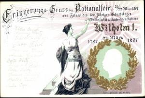 Präge Litho Nationalfeier März 1897, Kaiser Wilhelm I. von Preußen