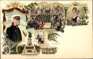 Litho Kaiserproklamation 1871, Königin Luise von Mecklenburg Strelitz, Luise von Preußen, Wilhelm I