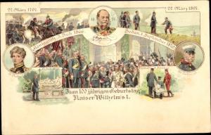 Litho 100 jähriger Geburtstag Kaiser Wilhelm I. von Preußen