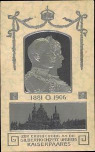 Präge Litho Silberhochzeit, Kaiser Wilhelm II. von Preußen, Kaiserin Auguste Viktoria