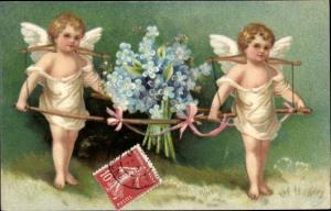 Präge Litho Zwei Engel, Trage, Vergissmeinnicht