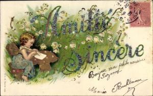 Präge Litho Amitié sincère, Engel, Blumen