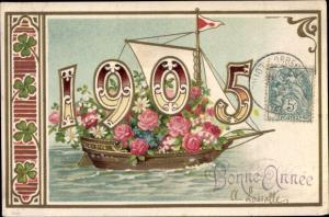 Litho Glückwunsch Neujahr, Jahreszahl 1905, Segelboot, Rosen, Kleeblätter