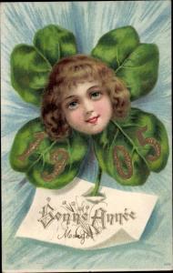 Präge Litho Glückwunsch Neujahr, Jahreszahl 1905, Kinderportrait, Kleeblatt
