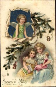 Präge Litho Glückwunsch Weihnachten, Engel, Mädchen, Puppe