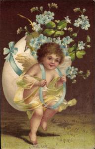 Präge Litho Glückwunsch Ostern, Engel, Ei, Vergissmeinnicht, Kleeblätter