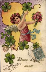 Präge Litho Glückwunsch Neujahr, Engel, Kleeblätter