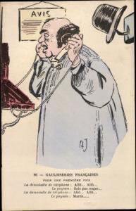 Künstler Ak Gailoiseries Francaises, Mann am Telefon