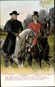 Künstler Ak Pfarrer und Mann auf Pferden