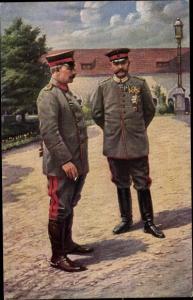 Ak Kaiser Wilhelm II. und Generalfeldmarschall Paul von Hindenburg im Schlossgarten zu Posen 1915