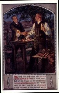 Künstler Ak Kuderna, F., Deutsch sein heißt treu sein, Männerfreundschaft, Nr 6