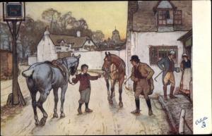 Künstler Ak Christmas, Straßenpartie, Junge mit Pferden, Mann