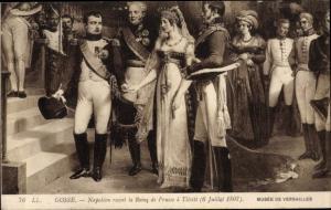 Künstler Ak Napoleon recoit la Reine de Prusse à Tilsitt, Königin Luise von Mecklenburg Strelitz
