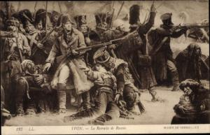 Künstler Ak La Retraite de Russie, Napoleon