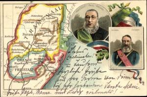 Landkarten Litho Transvaal Südafrika, Oranje Freistaat, President Paul Krüger, General Joubert