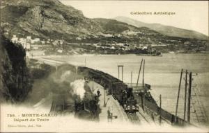 Ak Monte Carlo Monaco, Départ du Train, Dampflok, Bahnhof