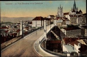 Ak Lausanne Kanton Waadt, Le Pont Bessieres et la Cathedrale