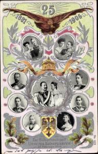 Wappen Ak Silberhochzeit, Kaiser Wilhelm II. von Preußen, Kaiserin Auguste Viktoria, Kinder
