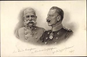 Künstler Ak Kaiser Wilhelm II. von Preußen, Kaiser Franz Joseph I.
