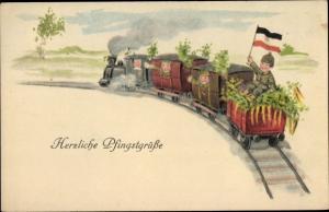 Ak Glückwunsch Pfingsten, Eisenbahn, Soldaten, Fahne