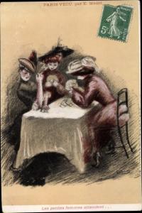 Künstler Ak Mauri, E., Paris Vecu, Frauen spielen Karten und rauchen