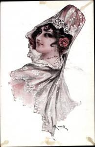 Künstler Ak Frau in spanischer Tracht, Frauenportrait