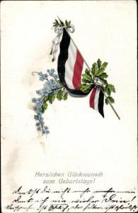 Ak Glückwunsch Geburtstag, Fahne, Vergissmeinnicht, Eichenlaub