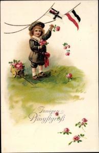 Litho Glückwunsch Pfingsten, Kind, Fahnen, Blumen, Patriotik