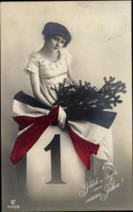 Ak Glückwunsch Neujahr, Kalenderblatt 1, Frau, Schleife, Patriotik