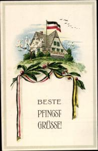 Litho Glückwunsch Pfingsten, Haus, Fahne, Lorbeer, Patriotik