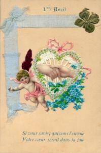 Stoff Litho 1 April, 1er Avril, Engel, Kleeblatt, Vergissmeinnicht, Hände