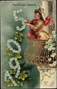 Präge Litho Glückwunsch Neujahr, Jahreszahl 1905, Kleeblätter, Vergissmeinnicht