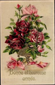 Präge Litho Glückwunsch Neujahr, Rosenblüten