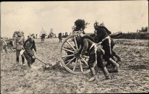 Ak Soldaten mit Geschütz im Feld
