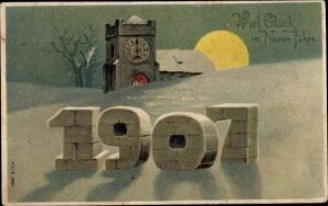 Präge Litho Glückwunsch Neujahr, Jahreszahl 1907, Kirche, Mondschein
