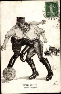 Künstler Ak Paco, Bravo Joffre, General Joseph Joffre kämpft gegen Kaiser Wilhelm II. von Preußen