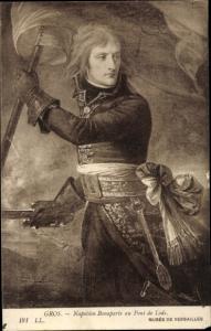 Künstler Ak Gros, Napoleon Bonaparte au Pont de Lodi, Kaiser Napoleon I.