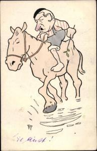 Künstler Ak Mann zu Pferd, Flussüberquerung