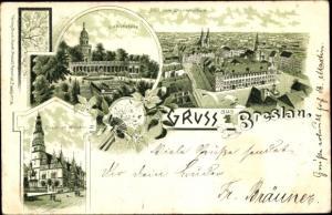 Litho Wrocław Breslau Schlesien, Liebichshöhe, Totalansicht