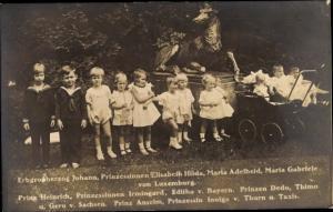 Foto Ak Erbgroßherzog Johann v. Luxemburg, Prinz Heinrich v. Bayern, Thimo u. Gero v. Sachsen, Thurn