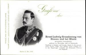 Ak Großherzog Ernst Ludwig von Hessen und bei Rhein, Portrait als preußischer Generalmajor