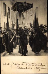 Ak Sevilla Andalusien Spanien, Sorolla y Bastida, Joaquin 1863-1923, Holy Week, Penitents