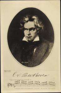 Künstler Ak Komponist Ludwig van Beethoven, Freude schöner Götterfunken, 9. Sinfonie