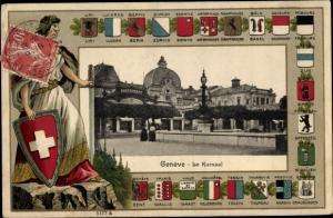Wappen Ak Genève Genf Schweiz, Le Kursaal, Wappen