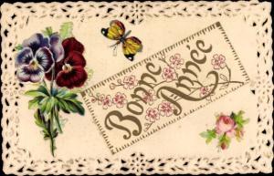 Litho Glückwunsch Neujahr, Schmetterling, Rose, Stiefmütterchen