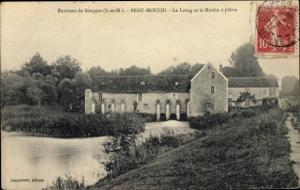 Ak Souppes sur Loing Seine et Marne, Beau Moulin, Le Loing et le Moulin a platre